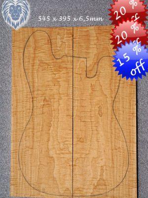 Prem. canad. curly Hardmaple Guitar Top, 6,5mm    (FL-455)
