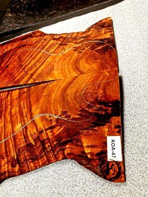 Prem. quilted KOA Guitar Top, 3,5mm  (KOA-47)