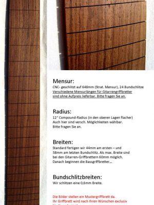 Rosewood-eastind. Fretboard (pre-assembled)
