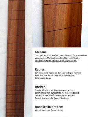Pflaumenholz/Zwetschge Fretboard  (pre-assembled)