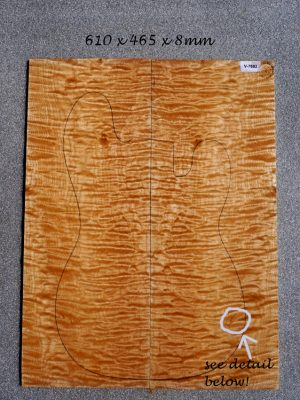 Big quilted Maple Guitar Top, 8mm    (V-7692)