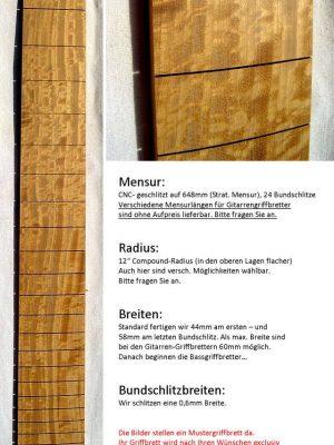 Zitronenholz/Satinwood Fretboard (pre-assembled)