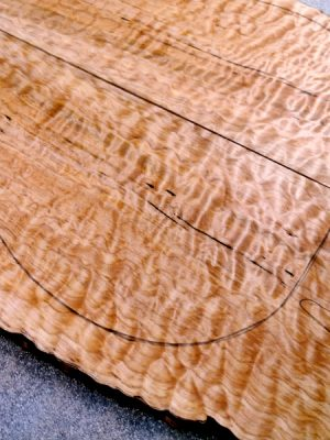 Prem. spalted quilt. Maple Guitar Top, 6,5mm  (V-8152)